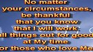 Be thankful – February 19, 2012