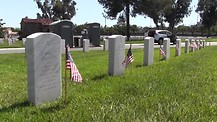 Memorial Day Images: Patterns of military veterans' tombstones at L.A. National Cemetery